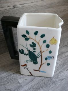 Vtg Royal Sealy Japan Ceramic Pitcher Utensil Holder Seafood Grill Orig Label #RoyalSealy $38.99