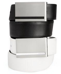 Calvin Klein 32mm Plaque Buckle Leather Dress Belt *Plaque Buckle: very important*