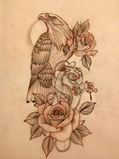 Calm new school eagle with rose and girly hand tattoo design ...
