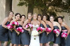 Grey bridesmaid dress bridesmaid pink wedding real weddings i dont want anything specific from this picture but i love how the dark gray dress makes the bright bouquets pop that is what i want to emulate mightylinksfo
