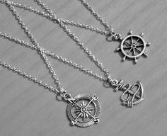 Anchor Rudder Compass necklaces best friends by SummerTreasure