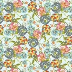 This unique print features bouquets of flowers in fabulous shades of teals, pinks and grays. Description from babybedding.com. I searched for this on bing.com/images
