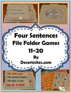 File Folder Game: Makes 10 games. Each game has 4 sentences to unscramble and then match with a picture. Includes optional writing assignments.