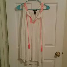 INC International Tank Top White with coral/pink embroidery. Worn once. Very comfortable. INC International Concepts Tops Tank Tops