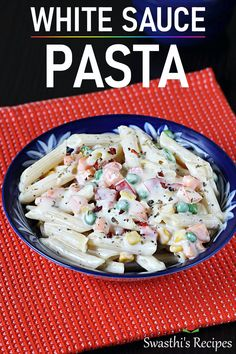 Pasta in white sauce recipe with video.Vegetable pasta in white sauce is one of the delicious. creamy pasta dishes that is loved by many folks Vegetarian Pasta Recipes, Easy Pasta Recipes, Veg Recipes, Spicy Recipes, Indian Food Recipes, Recipe Pasta, Goan Recipes, Paneer Recipes, Noodle Recipes