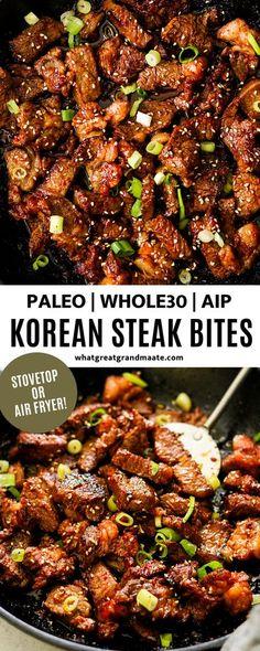 Paleo & Whole30 Korean Steak Bites - Stovetop or Air Fryer (AIP Option)