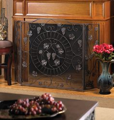 Wrought Iron Fireplace Screen with Grapes and Vineyard Motif