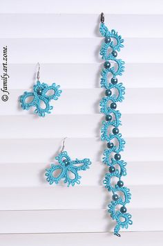 tatted earrings | Elegant Bijoux: Tatted bracelet and earrings