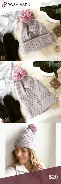 - PINK & GREY POLKA DOT POM HAT - Pink polkas & a big pom make this oh so cozy hat perfect for snowy winter walks! ❄️ Wear with an oversized scarf and booties for the perfect cozy winter vibe. 100% acrylic, can be worn rolled up or unrolled for a slouchier look. NWT comes in original dust bag.  🛍Bundle & Save 20% on 2+ items! 🙅🏼No trades / selling off of Posh.  ✨Offers always welcome!✨ Claire Louise Boutique Accessories Hats