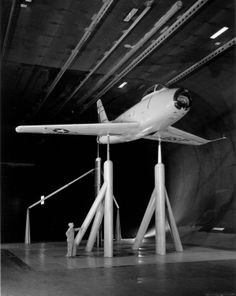 This F-86 aircraft is mounted in the 40 x 80 Foot Full Scale Wind Tunnel at the NACA Ames Aeronautical Laboratory, Moffett Field California.