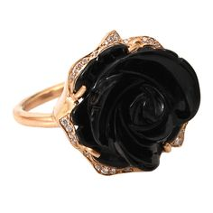 Irene Neuwirth Jewelry Limited Edition Carved Black Onyx Flower Ring ($8,980) ❤ liked on Polyvore featuring jewelry, rings, accessories, black, jewels, kohl jewelry, 18 karat gold jewelry, black jewelry, carved ring and onyx jewelry