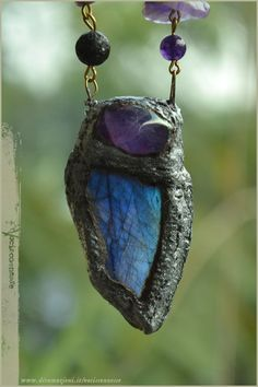 Labradorite faerie amulet with Amethyst - handsculpted  by Vocisconnesse, €35.00