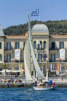 "Sailing at Spetses island, infront of the majestic ""Poseidonion Grand Hotel"" - Greece Beautiful Islands, Beautiful World, Beautiful Places, Paros, Santorini, Couple Travel, Myconos, Road Trip, Destinations"
