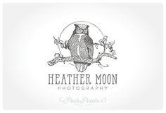 Logo Design (Premade) Bird Logo, Owl Logo, Hand Drawn Logo, Photography Logo, Boutique logo, Whimsical logo, Moon logo, Branch logo
