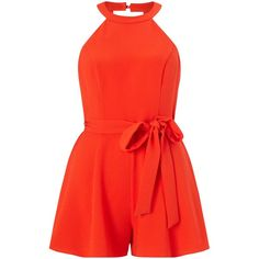 Miss Selfridge Petites 90s Playsuit, Orange ($50) ❤ liked on Polyvore featuring jumpsuits, rompers, petite, cutout romper, long-sleeve romper, red romper, sleeveless romper and halter romper