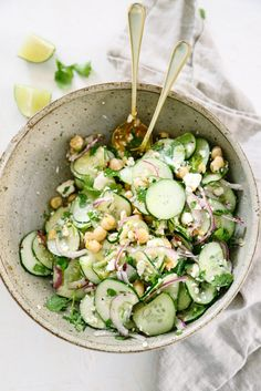 This Simple Cucumber Salad with Lime Vinaigrette is a perfect & easy side dish! Grab the ingredients from your garden or the store and enjoy!