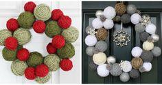 Corona navideña de esferas de lana | Ideas para Decoracion