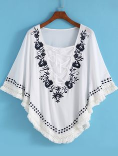 White Batwing Sleeve Embroidered Loose Blouse 16.00