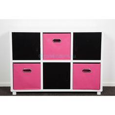 Our Six Cube Storage Units With Pink Box Inserts Makes Tidying Up Easy.  Brighten Up