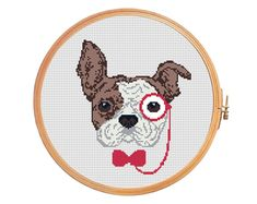 Hipster french bulldog - cross stitch pattern - modern cross stitch pattern pince-nez dog rimless eyeglasses red brown