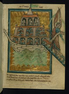 Illuminated Manuscript, Bible Pictures by William de Brailes, The Animals Enter Noah's Ark, Walters Art Museum Ms. W.106, fol. 2r
