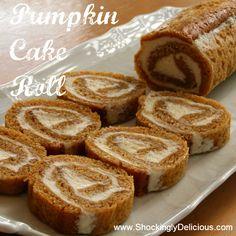 Pumpkin Cake Roll on ShockinglyDelicious. Recipe here: http://www.shockinglydelicious.com/?p=10246