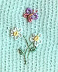 Resultado de imagem para bullion stitch embroidery from roses to wildflowers Bullion Embroidery, Hand Work Embroidery, Baby Embroidery, Hand Embroidery Stitches, Silk Ribbon Embroidery, Hand Embroidery Designs, Embroidery Techniques, Cross Stitch Embroidery, Embroidery Patterns