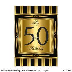 Fabulous 50 Birthday Deco Black Gold Stripe 5x7 Paper Invitation Card
