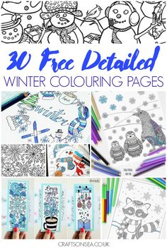Stay inside in the warm and enjoy these free detailed winter colouring pages - thirty designs including penguins, snowflakes, winter scenes and bookmarks.