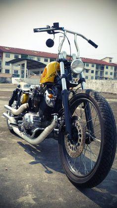 Tho& this Yamaha Virago 535 is not my style, but It& definitely a nice custom. Built by Hungry Ghost Custom Inc , Malaysia. Virago Bobber, Virago 535, Honda Bobber, Harley Bobber, Sportster 883, 49cc Moped, Bone Shaker, Bobber Style, Old School Chopper