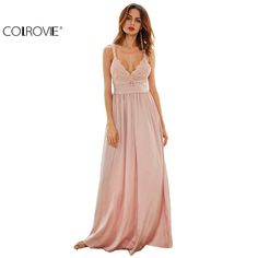 COLROVIE Ladies Sexy New Style Pink Triangle Lace Top Deep V Neck Pleated Waist Slip Sleeveless Maxi Dress