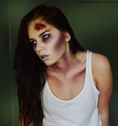 se/evelines shared by Eveline Blomfeldt - Halloween makeup Maquillage Halloween Zombie, Halloween Zombie Makeup, Maquillage Halloween Simple, How To Zombie Makeup, Black Zombie Makeup, Simple Zombie Makeup, Pretty Zombie Makeup, Walking Dead Zombie Makeup, Zombie Bride Makeup