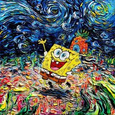 When Vincent Van Gogh's famous painting Starry Night meets Pop Culture, an amusing and offbeat series created by artist Aja Kusick, who inserts the cult characters under beautiful starry skies.