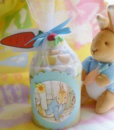 Baby Blanket...Peter Rabbit..Beatrix Potter.. Baby Shower...Boy, Girl or Neutral..Baby Blanket Cake..Adorable :)