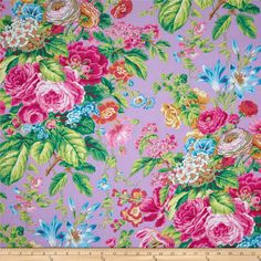 Kaffe Fassett Floral Delight Lavender from @fabricdotcom  Designed by Philip Jacobs for Westminster, this cotton print fabric is perfect for quilting, apparel and home decor accents. Colors include grey, yellow, shades of pink, shades of green, shades of orange, shades of blue, and shades of purple.