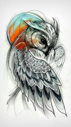 Tattoos are wonderful ways to express your views and interests. Owl tattoos, with their multiple meanings, . What is the meaning behind an owl tattoo? Tatoo Art, Body Art Tattoos, New Tattoos, Cool Tattoos, Tatoos, Pretty Skull Tattoos, Circle Tattoos, Stomach Tattoos, Anchor Tattoos