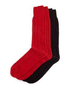 Cashmere Sock Set, Red/Black - Neiman Marcus
