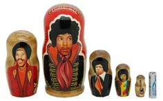 Jimi Hendrix (Henderix) Russian Nesting Dolls 5pc matryoshka doll, 6"