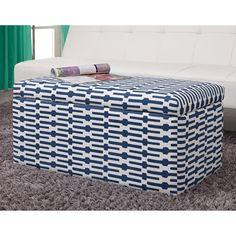 Dorel Home Products Aria Rectangular Storage Ottoman, Blue/White: Furniture : Walmart.com