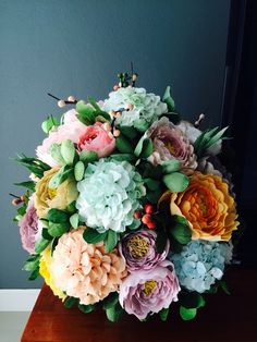Craft#Crepe paper flower#peonies and hydrangeas