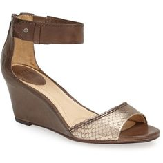 $247.95 Frye 'Carol' Back Zip Leather Wedge Sandal Grey 9.5 M