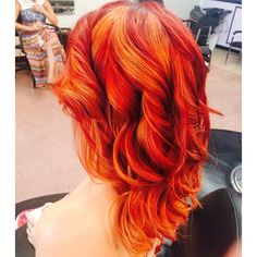 Orange and red hair. Pinwheel technique.