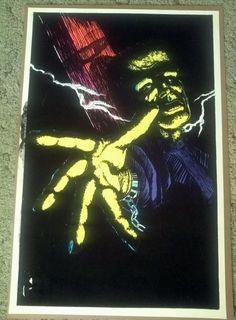 1975 Frankenstein Blacklight Black Light Poster Flocked Velvet 23X35 #Vintage
