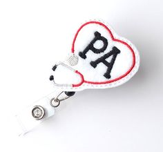 Physician Assistant Badge Pull - Cute Badge Clip - Retractable ID Badge Holder - Felt Badge Reel - PA Badge Pull - PA Gifts - BadgeBlooms