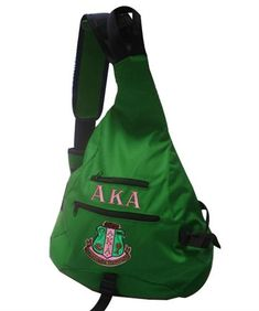 Alpha Kappa Alpha Sling Shoulder Bag Backpack - Brothers and Sisters' Greek Store Aka Sorority Gifts, Alpha Kappa Alpha Sorority, Sorority Life, Sorority Outfits, Green Bag, Pink And Green, Bago, Girls Wear, Satchel Handbags