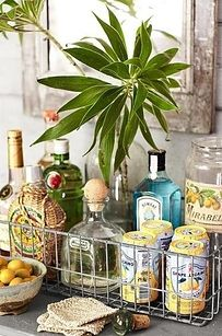 use wire basket on balcony for vodka soda drink station