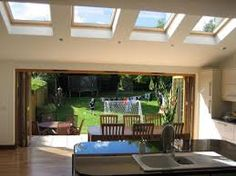 Lots of Velux to give garden room feel Kitchen Diner Extension, Open Plan Kitchen Diner, Open Plan Kitchen Living Room, Open Plan Living, Kitchen Extension On Bungalow, Kitchen Extension Pitched Roof, Kitchen Dining, Single Storey Extension, Rear Extension