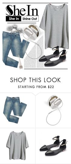 """""""SheIn: Grey Short Striped T-Shirt"""" by happily-ever-after-together4ever ❤ liked on Polyvore featuring Mossimo, Christian Louboutin and shein"""