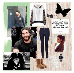 OC AJ WWE Diva ~ Cold Days at Work by fan-girlfanatix on Polyvore featuring J Brand, UGG, Jaquet Droz and Case Scenario