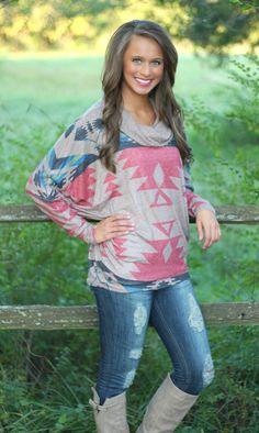 The Pink Lily Boutique - Aztec Cowl Neck Blouse, $38.00 (http://www.thepinklilyboutique.com/aztec-cowl-neck-blouse/)